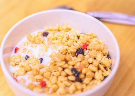 Delicious granola and milk breakfast