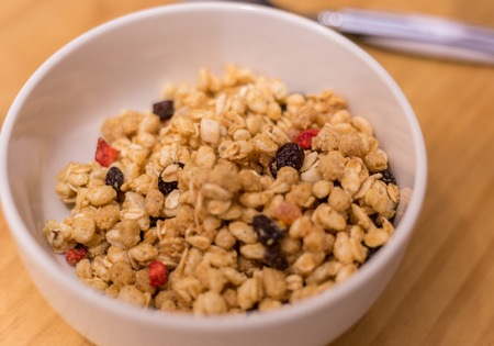 processed grains: Delicious granola and milk breakfast