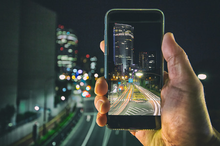 Shooting the city lights with a mobile device at night