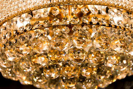 Crystal glass of chandelier that shines like a jewel in room