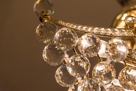 ball lump: Crystal glass of chandelier that shines like a jewel in room