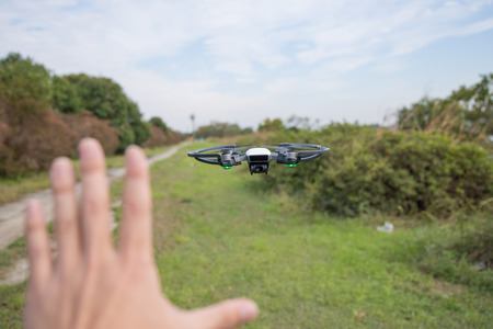 High performance small drone operated by hand Фото со стока