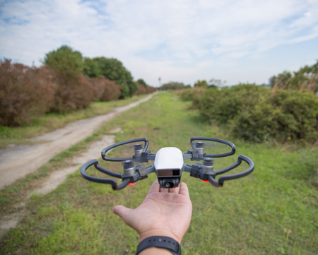 High performance small drone operated by hand Stock fotó