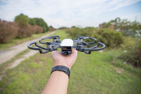 High performance small drone operated by hand 写真素材