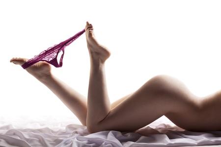 woman naked body: Finishing touch Stock Photo