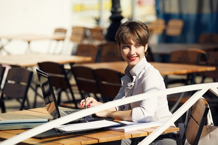 Business lady in cafe photo