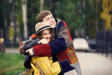 Hippie hugging photo