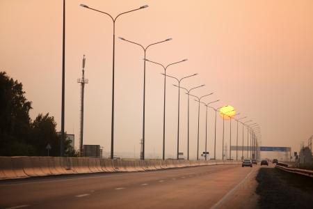 Road in smoke photo