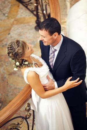 top veiw: Newlyweds embraces Stock Photo