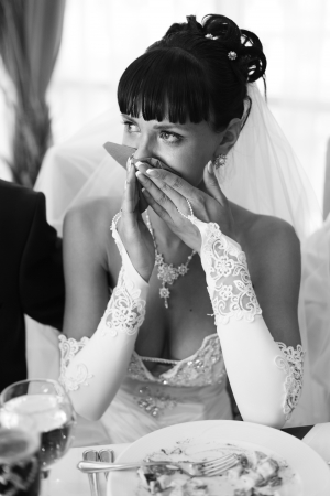 Beautiful bride crying