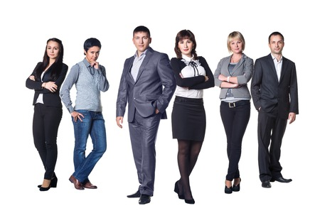 thee: Real business team. Thee couples Stock Photo