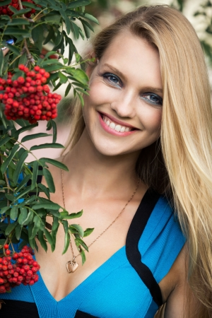 guelder: Beautiful woman with guelder rose Stock Photo