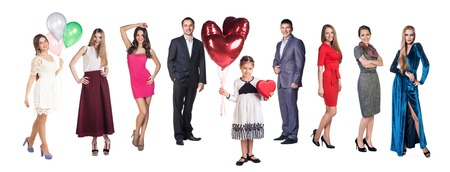 Group of happy friends and little girl with balloons and box over a white background photo