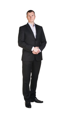 Businessman full length portrait isolated on white photo