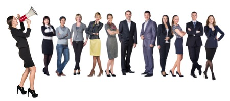 Recruitment agency  Business woman with megaphone standing in front of other busines people photo