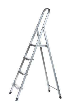 reachability: New Metallic Step Ladder isolated on white Stock Photo