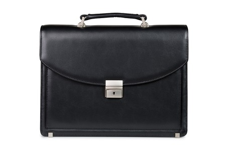 Black leather briefcase isolated on the white photo
