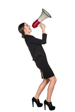 summon: Business woman with megaphone yelling and screaming isolated on white background Stock Photo