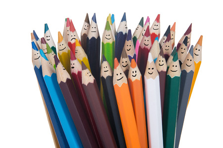 Colorful smiling pencils team. Isolated on white