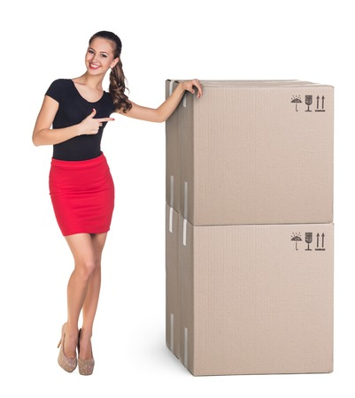 Beautiful Woman with boxes on white