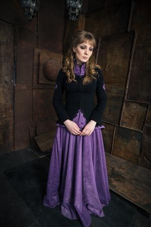 civil war: Elegant woman dressed in a Civil War era ball gown Stock Photo