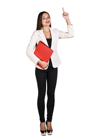 Business woman showing a copyspace isolated on white background photo