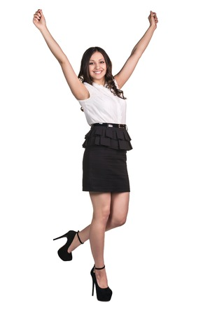 Beautiful happy young business woman isolated on white background photo