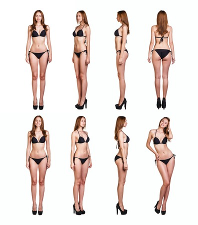 Collage of sexy woman with black underwear isolated on white background. Full body portrait. photo