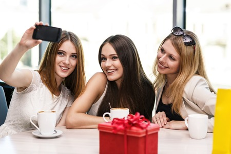 friends talking: Holidays - beautiful girls taking picture in cafe Stock Photo