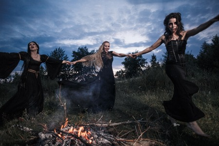 Whitches coven. Dark night. Fire