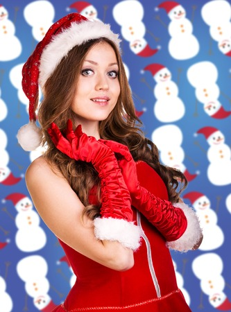 'snow maiden': Sexy santa collage. Snow maiden in red dress, on dark blue background with stylized artistic snowflakes