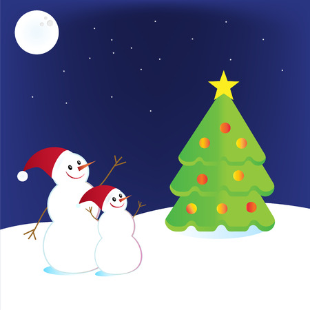 Vector illustration of a snowman with a Christmas tree Vector