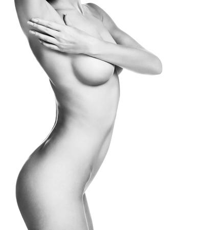 chica desnuda: Hermoso cuerpo femenino. Aislado en el fondo blanco Foto de archivo