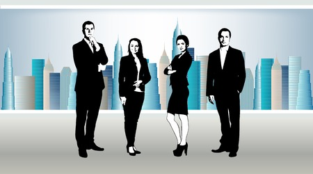 suite: business team in office. In window skyscrapers with sky