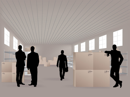 forwarding: Young men in warehouse, they are from the Customer Service Illustration