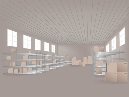 hangar: Warehouse with boxes in it. Vector illustration Illustration