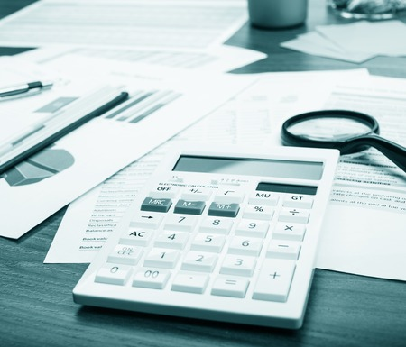 Office table. Desk office financial accounting graphs analysis