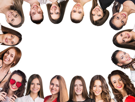 fair woman: Smilling frame. Group of young happy women. Isolated
