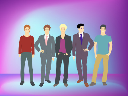 young men: Well dress young men. Vector image
