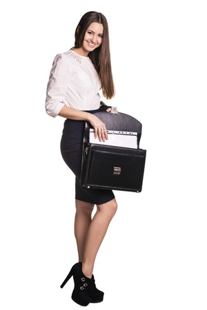 25 30 years: Young business woman with black leather briefcase Stock Photo