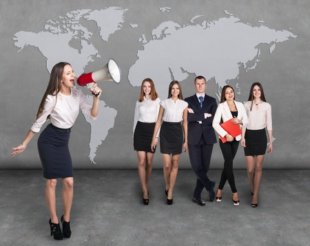employment agency: Recruitment agency. Business woman with megaphone standing in front of other busines people