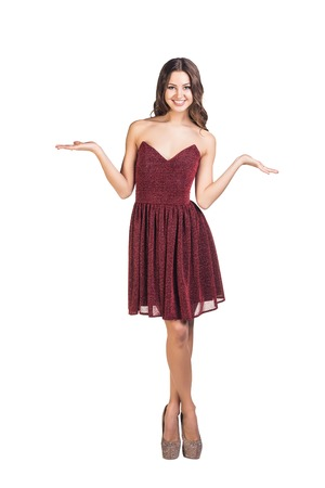 evening gown: Woman in evening gown is pleased to see you Stock Photo