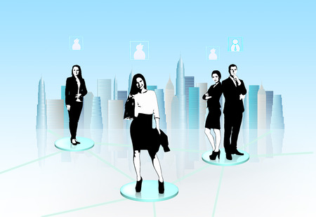 interacting: Silhouettes of business people interacting to each other. Stock Photo