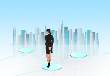 busineswoman: Busineswoman think on light background Stock Photo