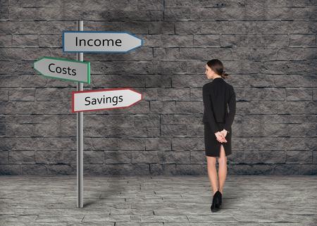 busineswoman: Busineswoman think how to make money Stock Photo