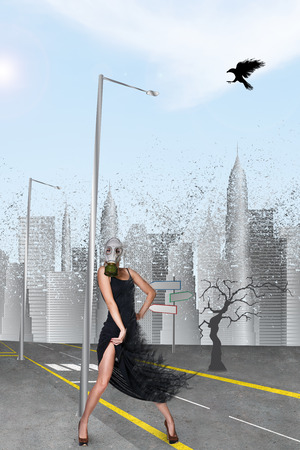 dispersion: Dancing girl in gas mask in he city Stock Photo