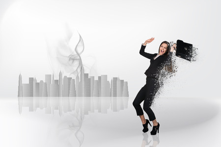dispersion: Image of businesswoman flying in fog