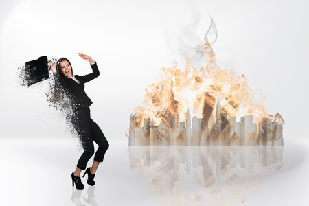 dispersion: Image of businesswoman flying in fire