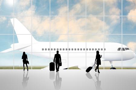 bustle: International Airport Terminal Travel Business Trip Concept Stock Photo