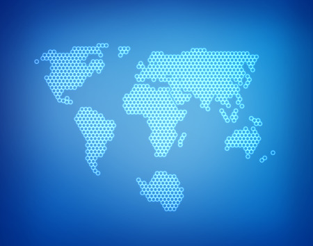 south africa map: World map in pixels on blue background